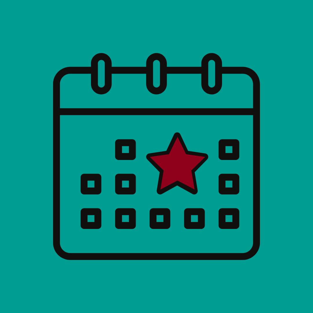 Graphique d'un calendrier avec une étoile rouge sur une date