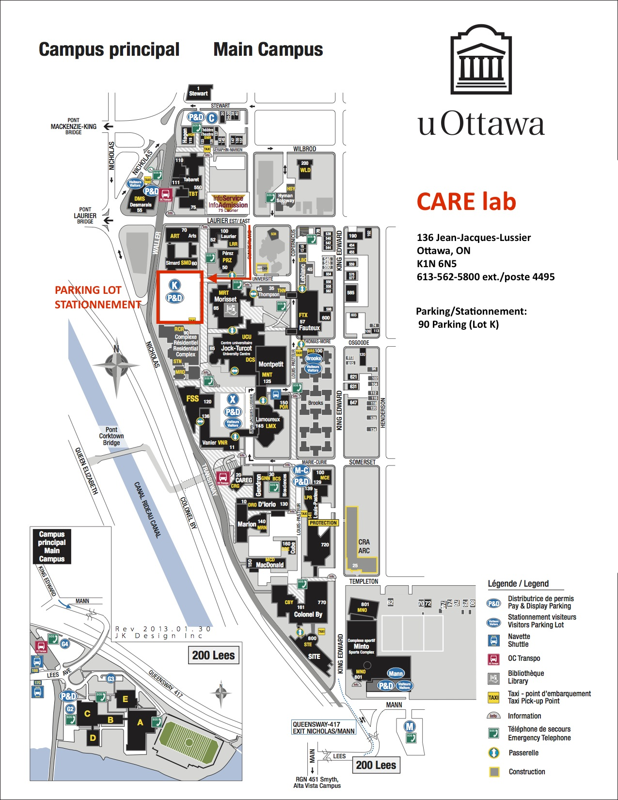 uOttawa Main Campus map with red outline of CARElab location