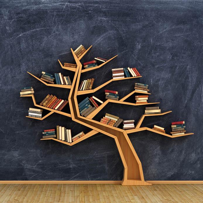 bookshelf in the shape of a tree