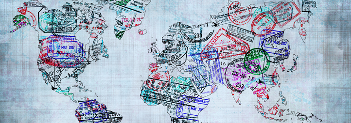 World map created with passport stamps