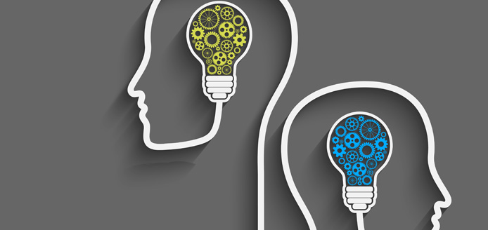 graphic of 2 heads with lightbulbs filled with gears