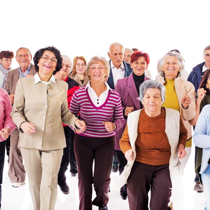 Group of elderly people walking