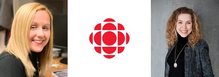 Portrait of Rachel Fayter, Jennifer Kilty and the CBC's logo