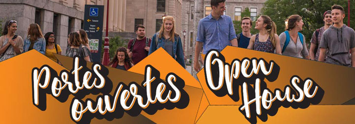 Students walking on campus - Open House