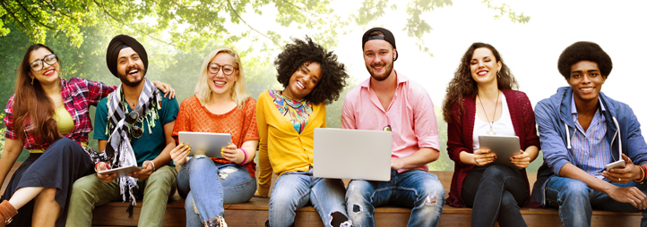 diverse people studying students campus