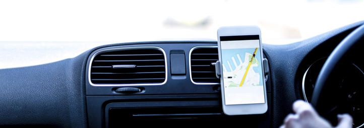 dashboard of a car with an iphone