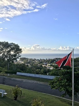 picture of Trinidad and Tobago Flag with scenery