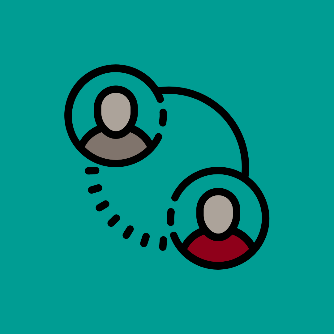 Graphic of two human icons connected by a dotted circle