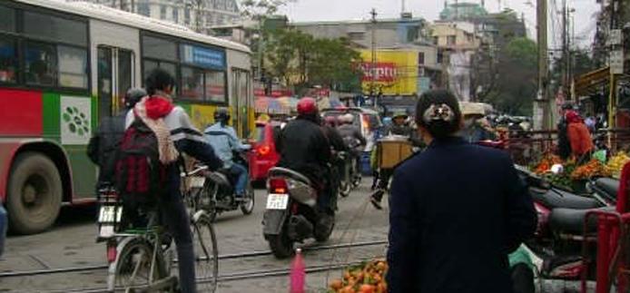 busy street in Vietnam
