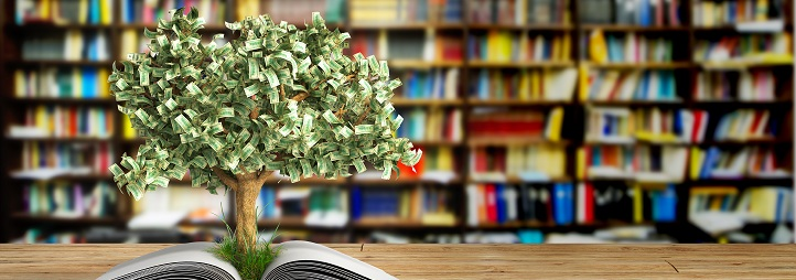 Moneytree growing from a book in a library