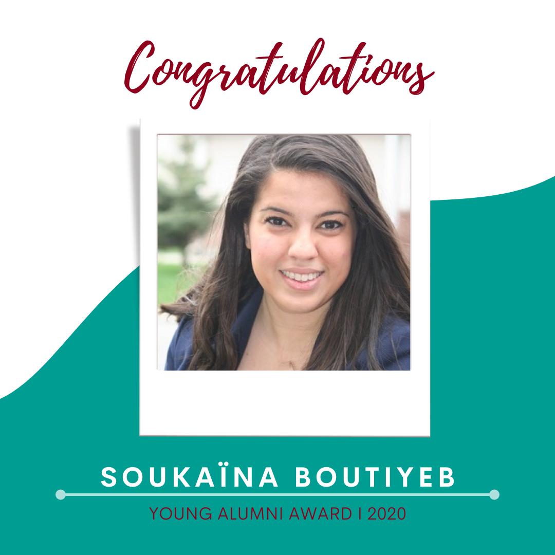 Congratulations Soukaina Boutiyeb, recipient of the Young Alumni Award 2020