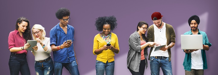 international students checking their smart devices
