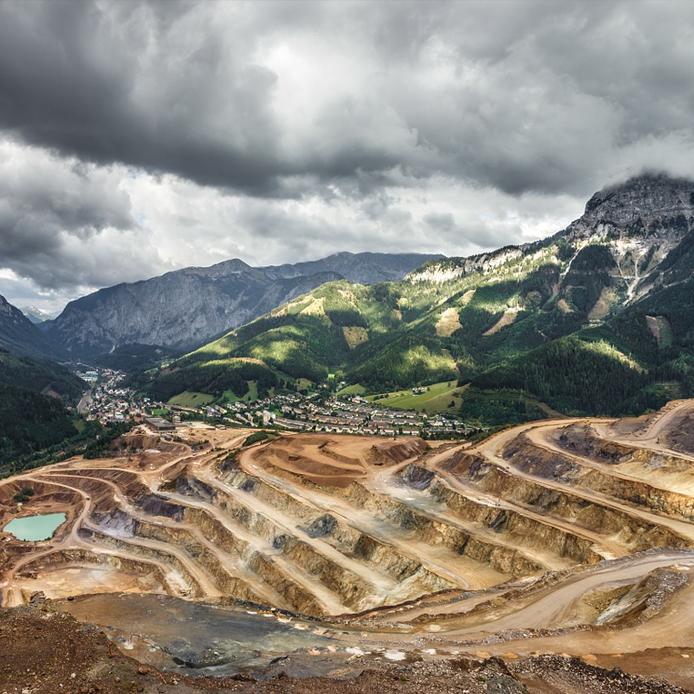 Open pit mine in landscape