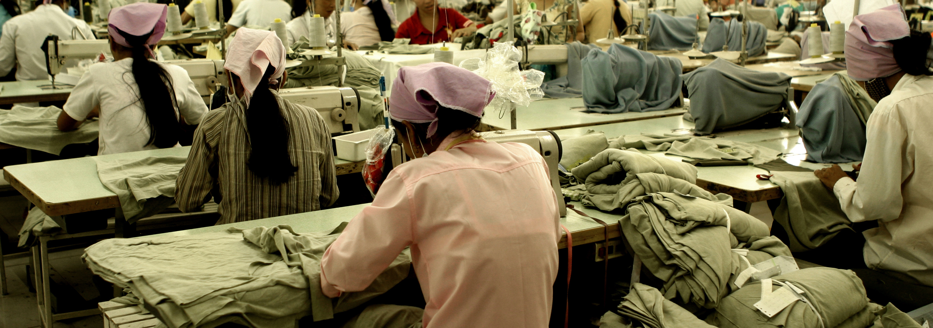 Children working at a clothing factory