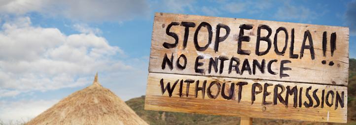 Sign announcing Ebola area
