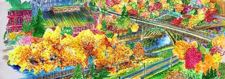 drawing of the uOttawa campus
