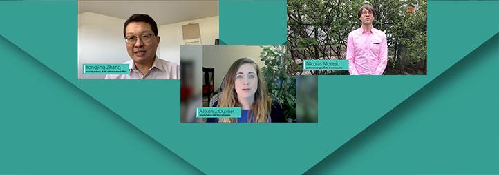 3 screen captures of profs