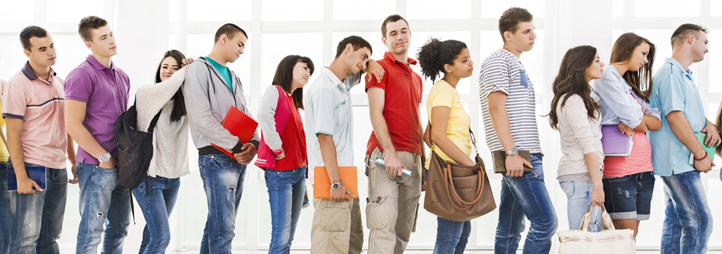 line of students