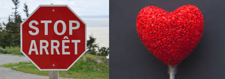 red stop sign and a red heart