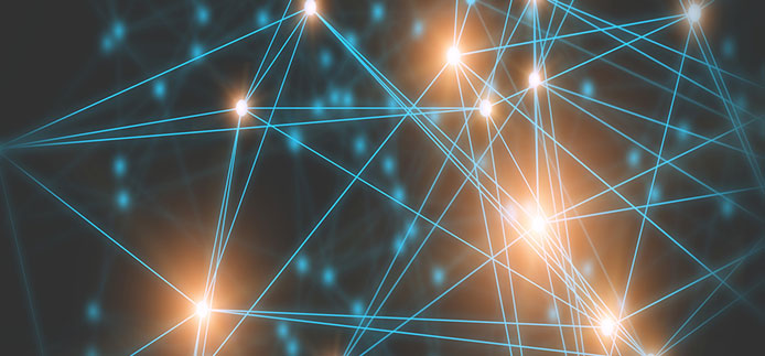 Luminous dots connected with several straight lines