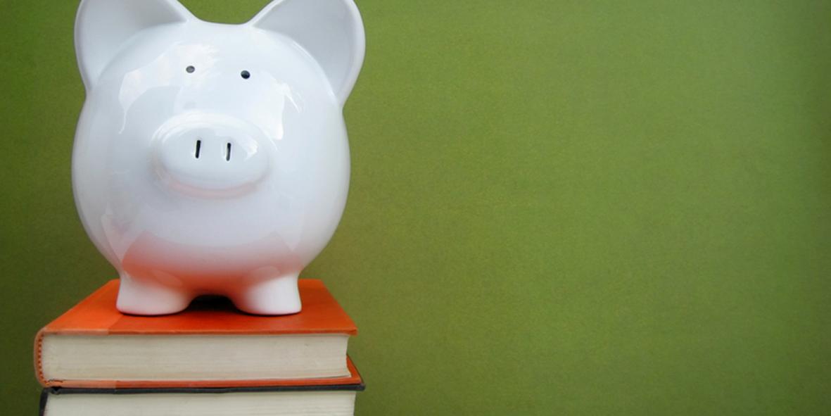 piggy bank on books