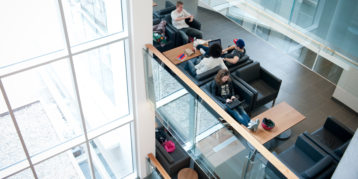 Students sitting in the FSS Building