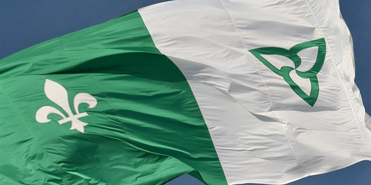 Green and white Franco-Ontarian Flag