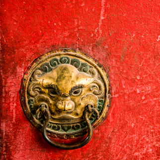 Chinese golden door knocker