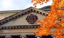 Autumn leaves outside Tabaret Hall.