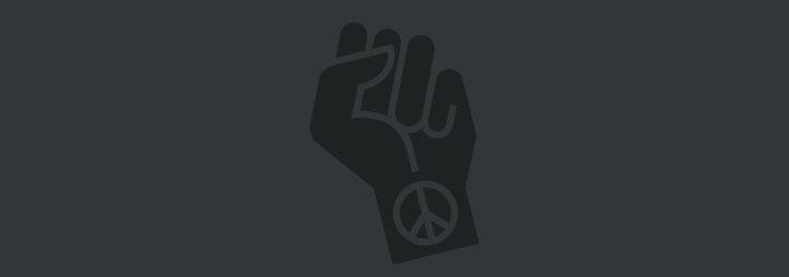 Grey fist on a black background