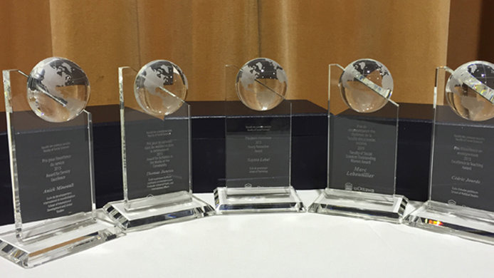 row of glass awards