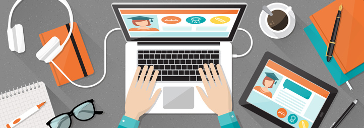 desktop view of student working on laptop