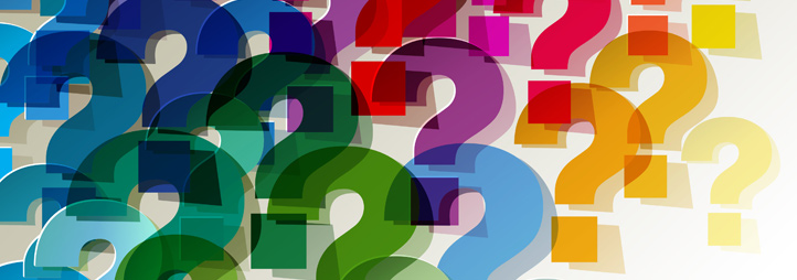 many colourful question marks