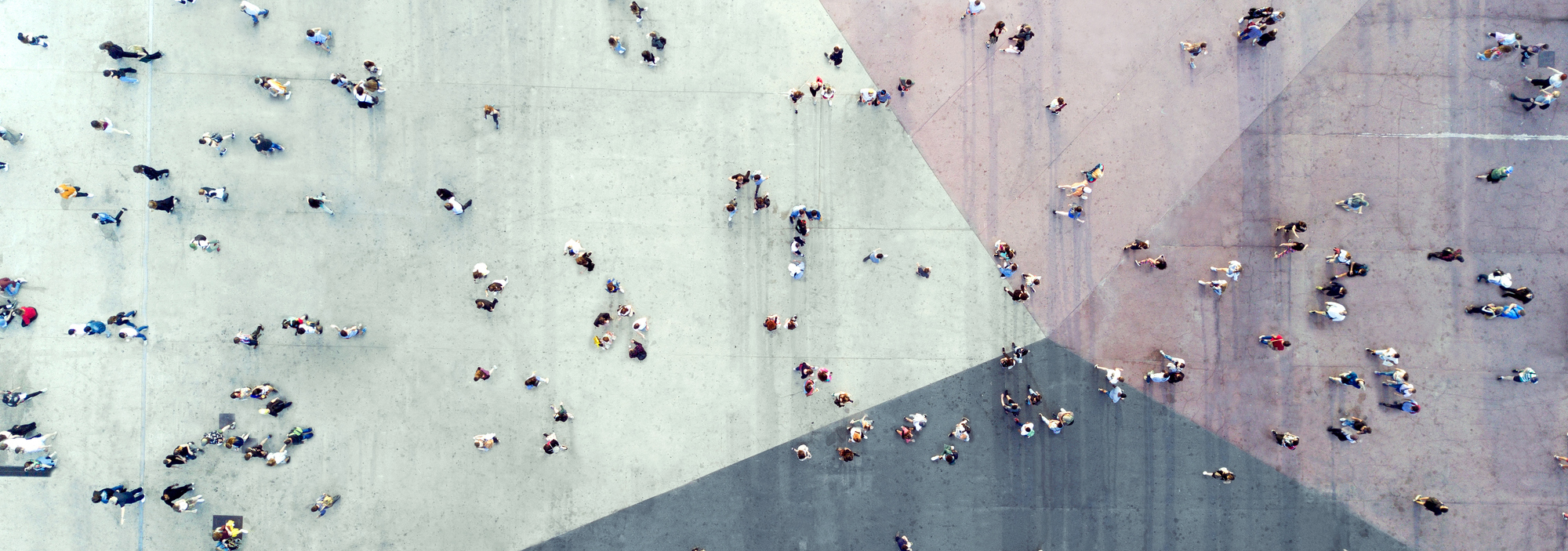 aerial photo of people outside