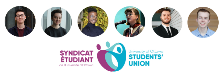 Photos of the FSS students elected at the University of Ottawa Student Union's board along with the UOSO's logo
