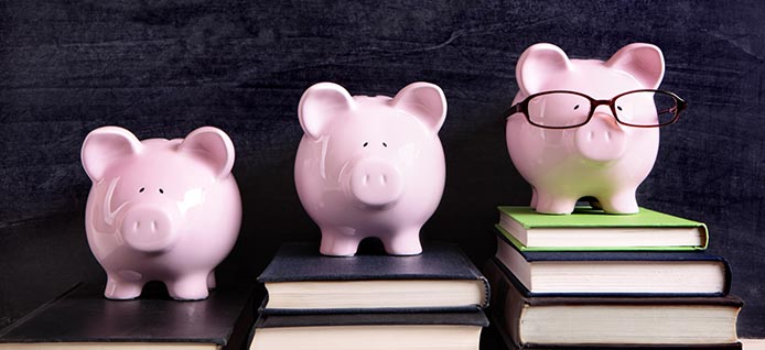 three pink piggy banks on books with blackboard in background
