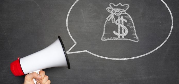 Megaphone showing a speaking bubble with a money bag in the centre