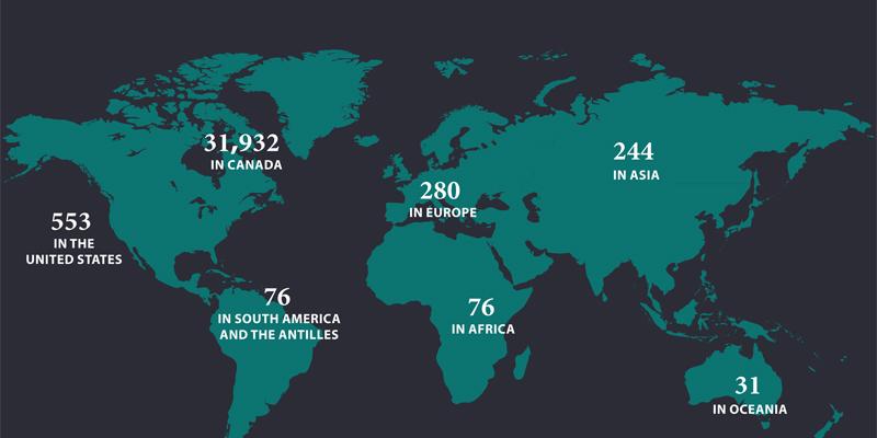 map showing alumni by region