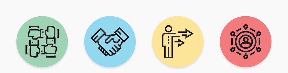 quatre icônes: quatre mains qui se tiennent; serre de main; bouge à la droite; sportlight