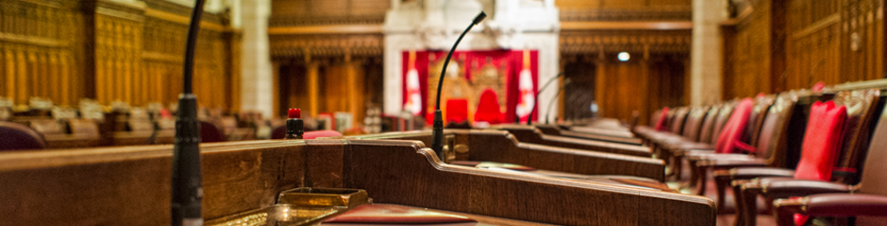 Interior view of the Parliament of Canada's Senate chamber