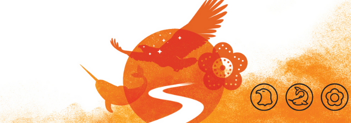 National Day of Truth and Reconciliation's Icons: The eagle to represent First Nations peoples The narwhal to represent Inuit,The beaded flower to represent Métis peoples