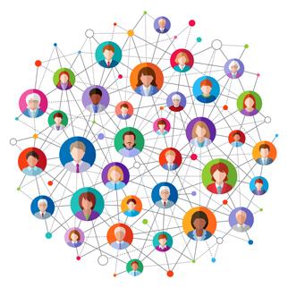 un réseau colorés de personnes connectés entre elles