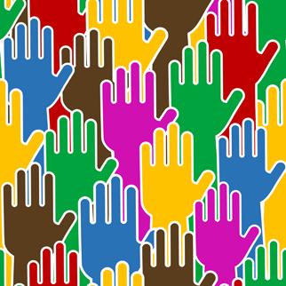Plusieurs mains colorées