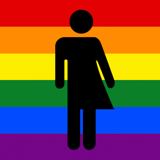 Gender neutrality symbol with a pride flag in the background