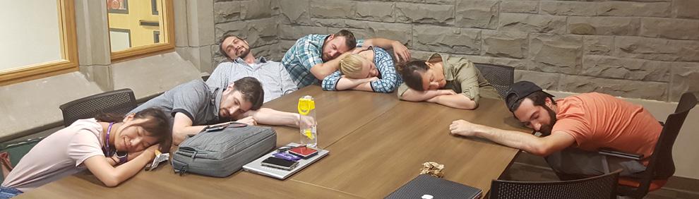 Sleep lab members sleeping on the job