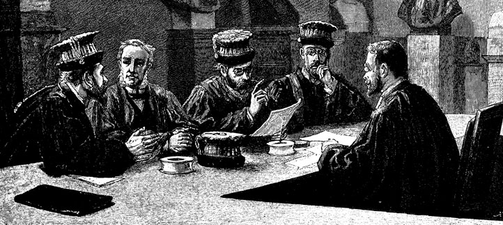 black and white illustration men around a table
