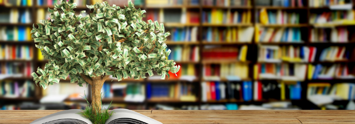 Money tree growing up form a book