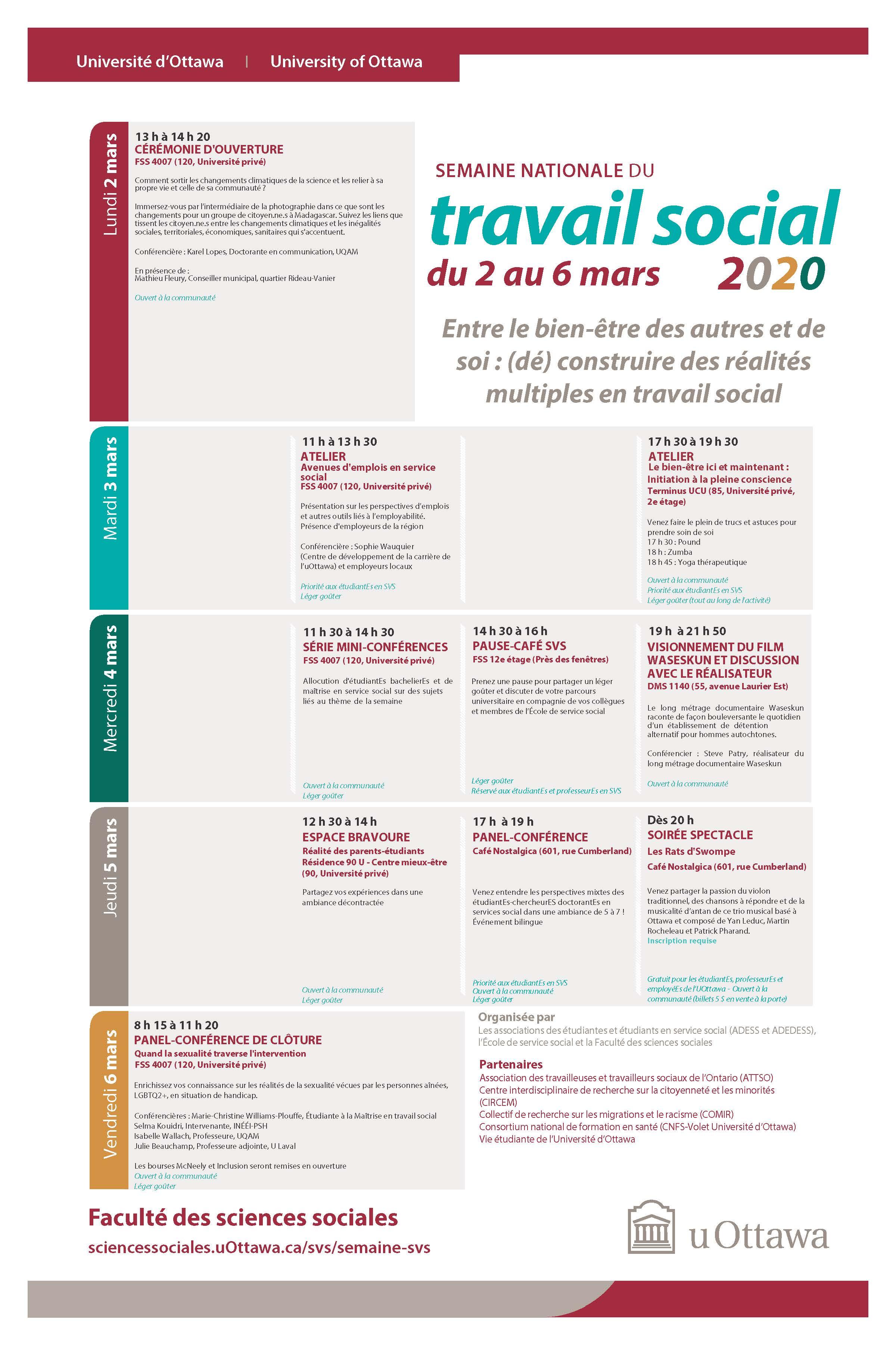National Social Work Week schedule