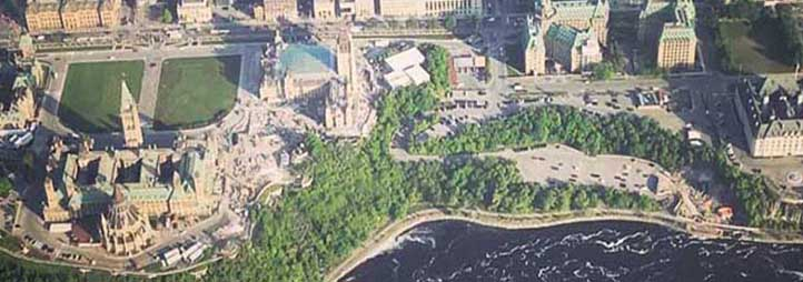shot of Ottawa from the sky
